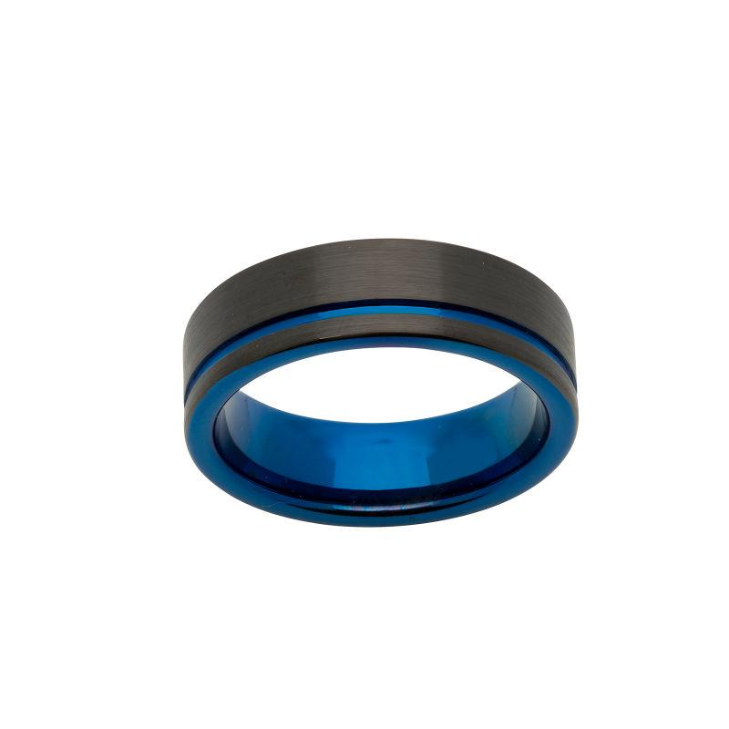 Men's Black Hammered Tungsten Carbide Ring with Blue Channel Jewellery Unique O 3/4