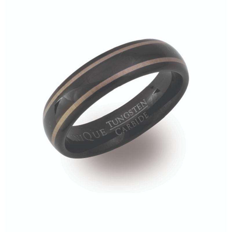 Men's Black Tungsten Ring with Lines Jewellery Unique 0 3/4