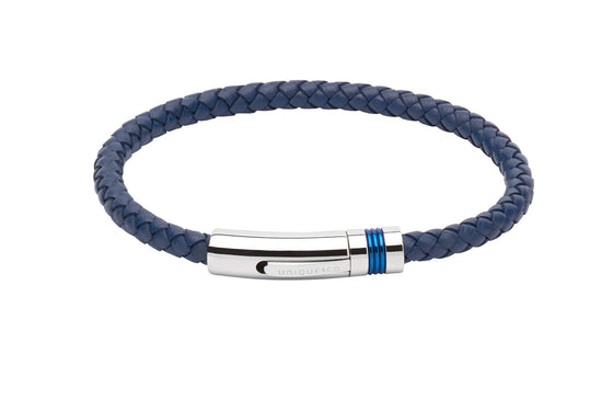 Mens-Blue-Leather-Bracelet-with-blue-detailing-on-clasp