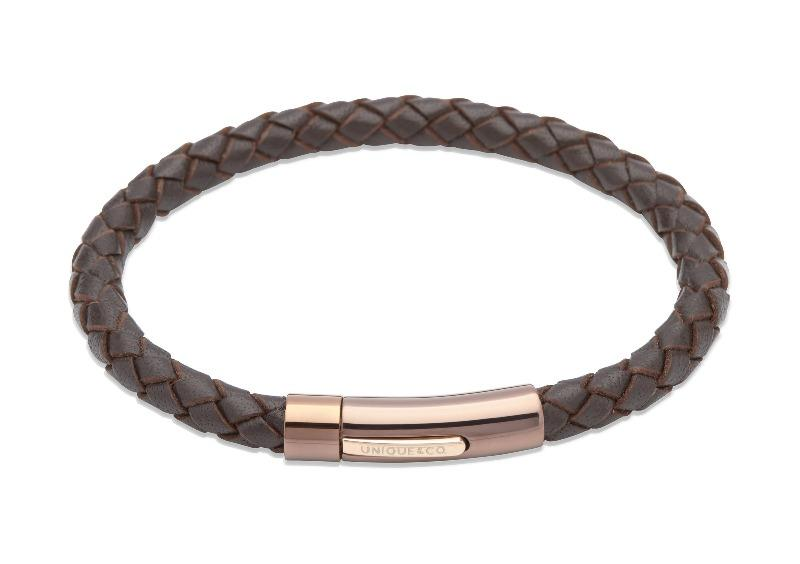Mens-Brown-Leather-Bracelet-with-Rose-Gold-Clasp-from-Jools