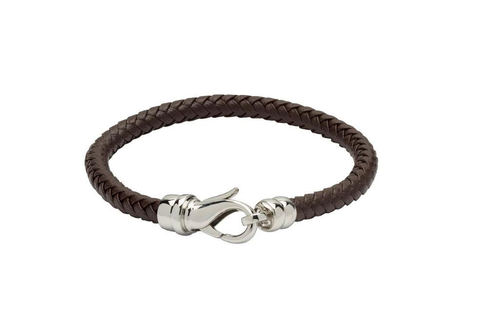 black woven leather bracelet for men with stainless steel shrimp clasp
