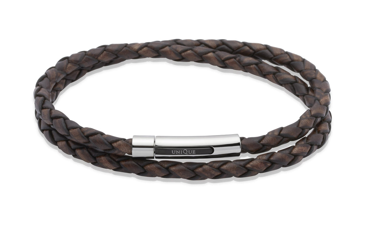 Mens-Double-Wrap-Around-leather-bracelet-in-Antique-Brown-from-Jools-Jewellery