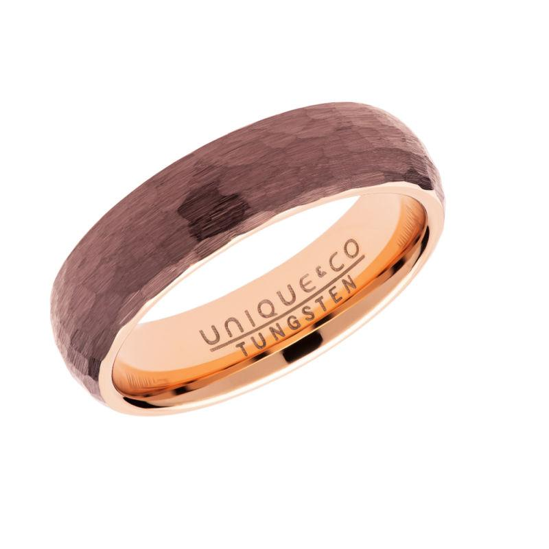 Men's Tungsten Hammered Ring in Brown & Rose-Gold Jewellery Unique O 3/4
