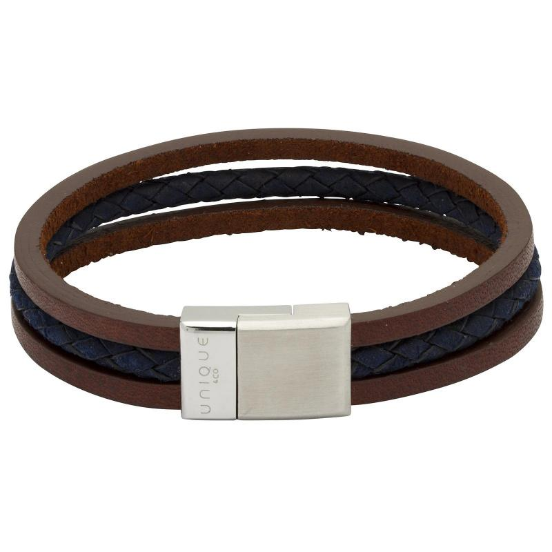 Men's Triple Stranded Leather Bracelet in Brown and Blue Jewellery Unique 21cm