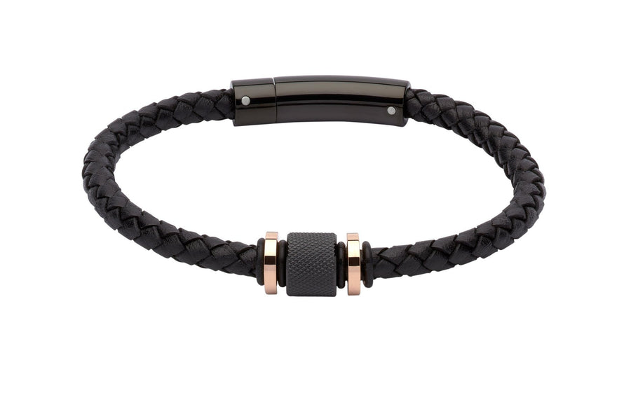 Mens-Black-Leather-Bracelet-with-Black-Bead-and-Rose-Gold-Plating-from-Jools
