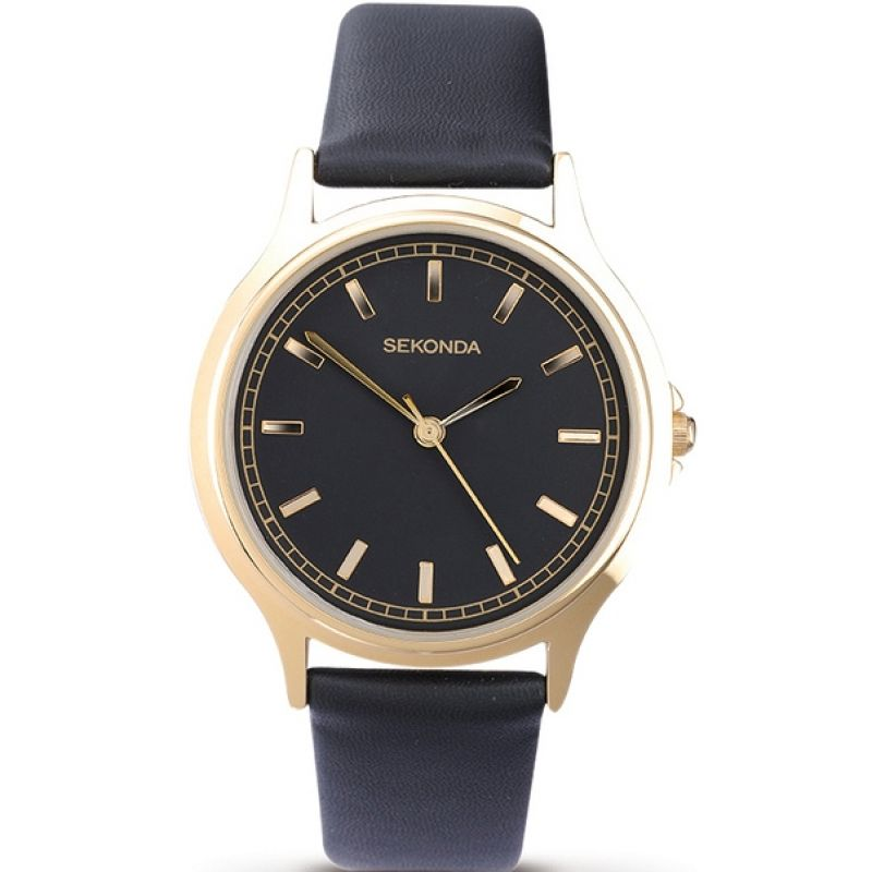 Men's Sekonda Watch 3141 with black strap, black dial and gold case and batons