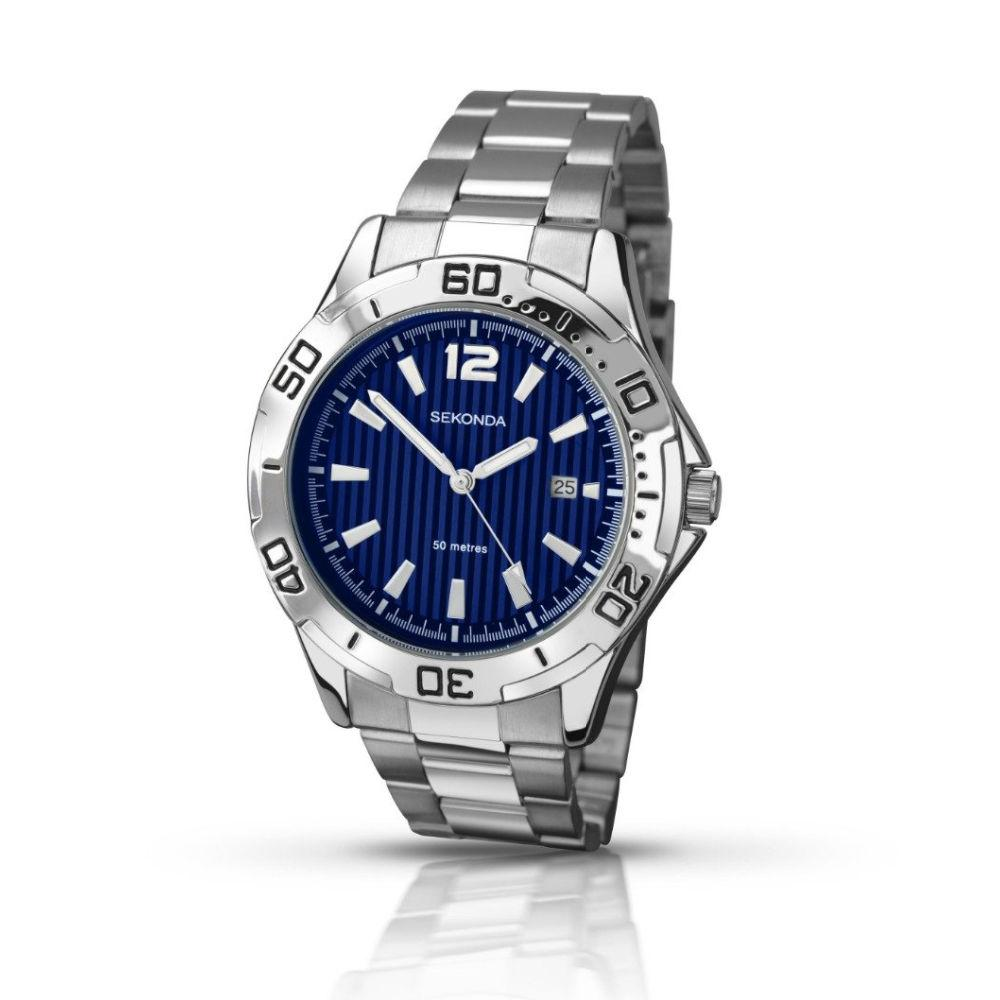 Men's Sekonda Watch with blue dial white batons and stainless steel bracelet. With date function