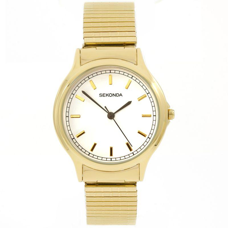 Sekonda Watch with gold tone expanding strap and clear white dial with gold batons