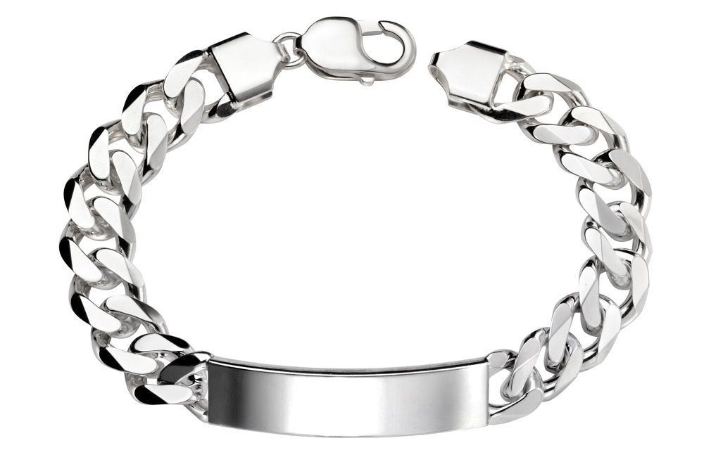 Men's Silver Heavy ID Bracelet Jewellery Gecko
