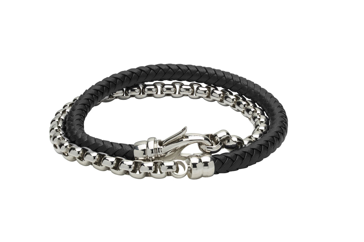 Mens-Steel-and-Black-Leather-Wrap-Around-Bracelet-with-Steel-Clasp-from-Jools
