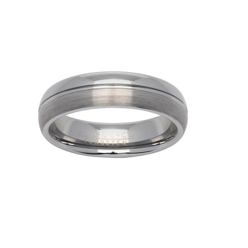Men's Tungsten Ring with Brushed and Polished Finish Jewellery Unique O 3/4