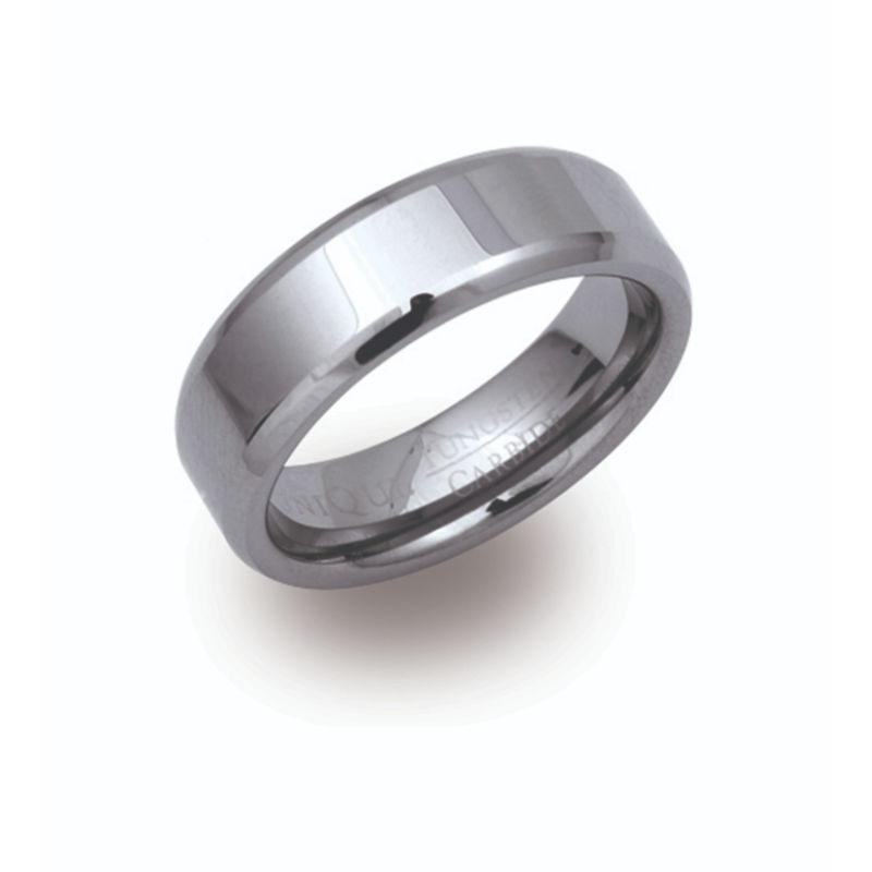 Men's Tungsten Ring with Bevelled Edge Jewellery Unique O 3/4