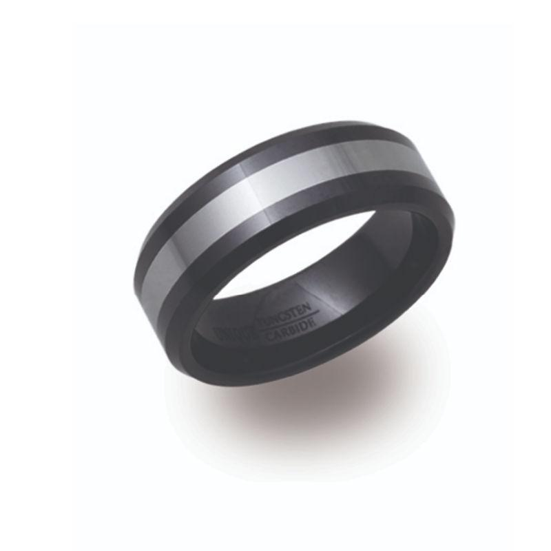 Men's Black and Silver Tungsten Ring Rings Unique O 3/4