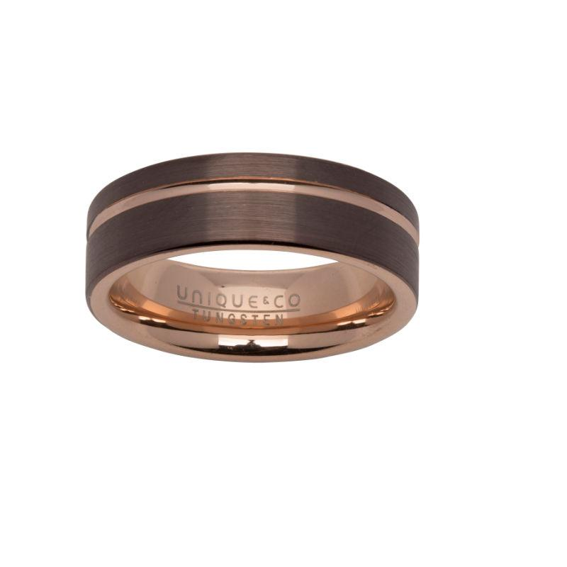 Men's Tungsten Ring in Brown with Rose Gold Channel Jewellery Unique O 3/4