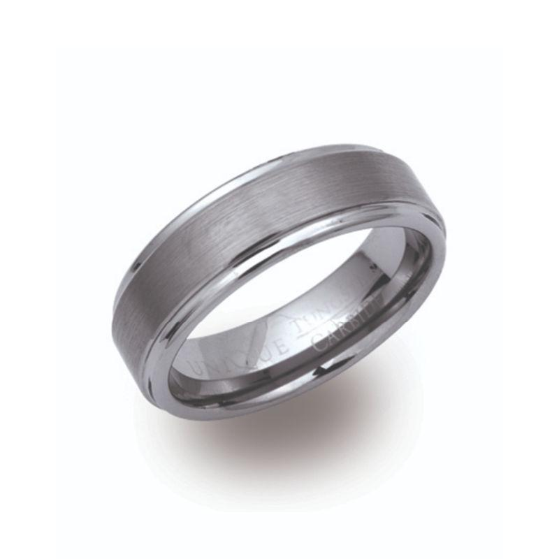 Men's Tungsten Ring with Brushed Band Jewellery Unique O 3/4