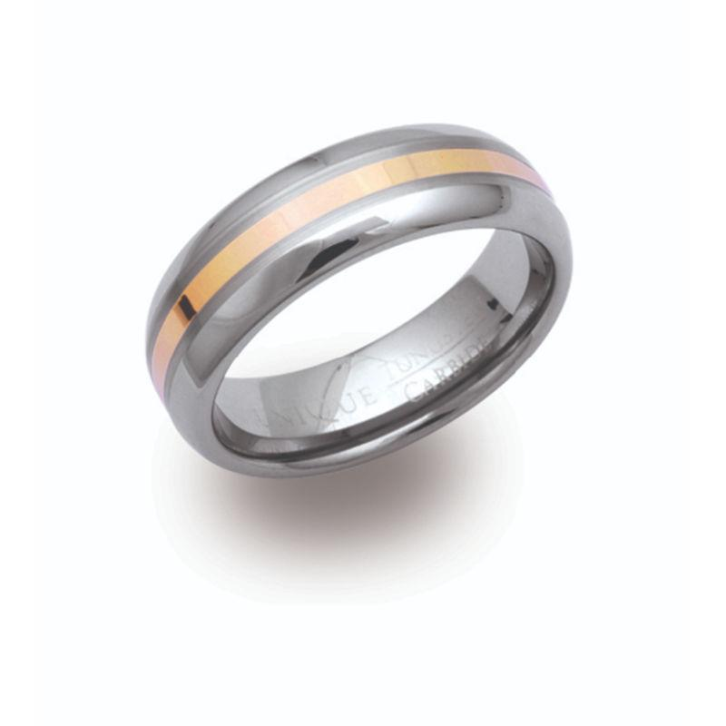 Men's Tungsten Ring and Gold Inlay Jewellery Unique O 3/4