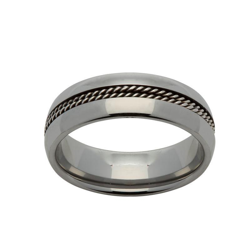 Men's Tungsten Carbide Ring with Double Rope Detail Jewellery Unique O 3/4