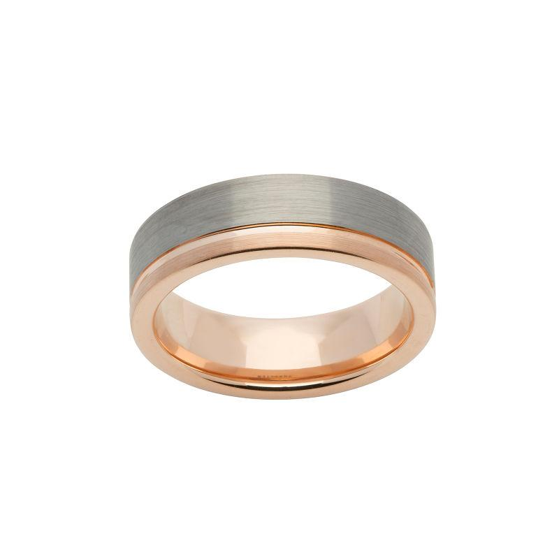 Men's Tungsten and Rose Gold Ring Jewellery Unique O 3/4