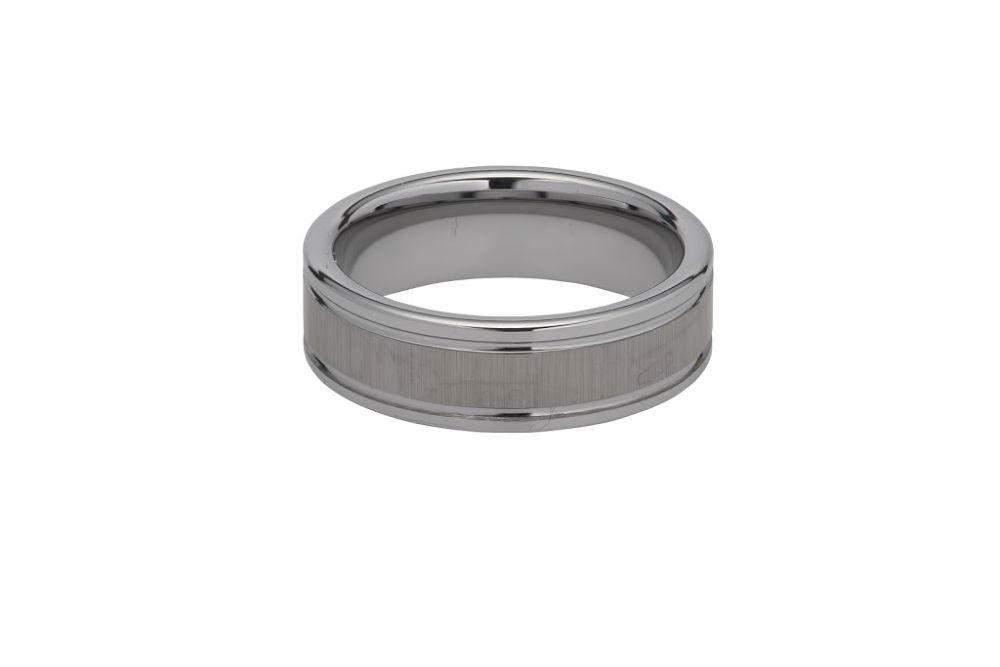 Men's 7 mm wide tungsten carbide ring with textured centre piece and smooth ribbed, edges