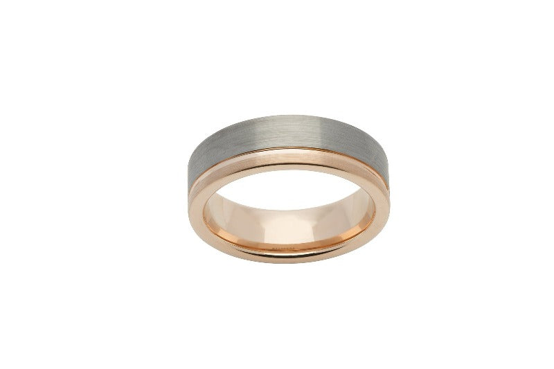 Men's Tungsten and Rose Gold Ring