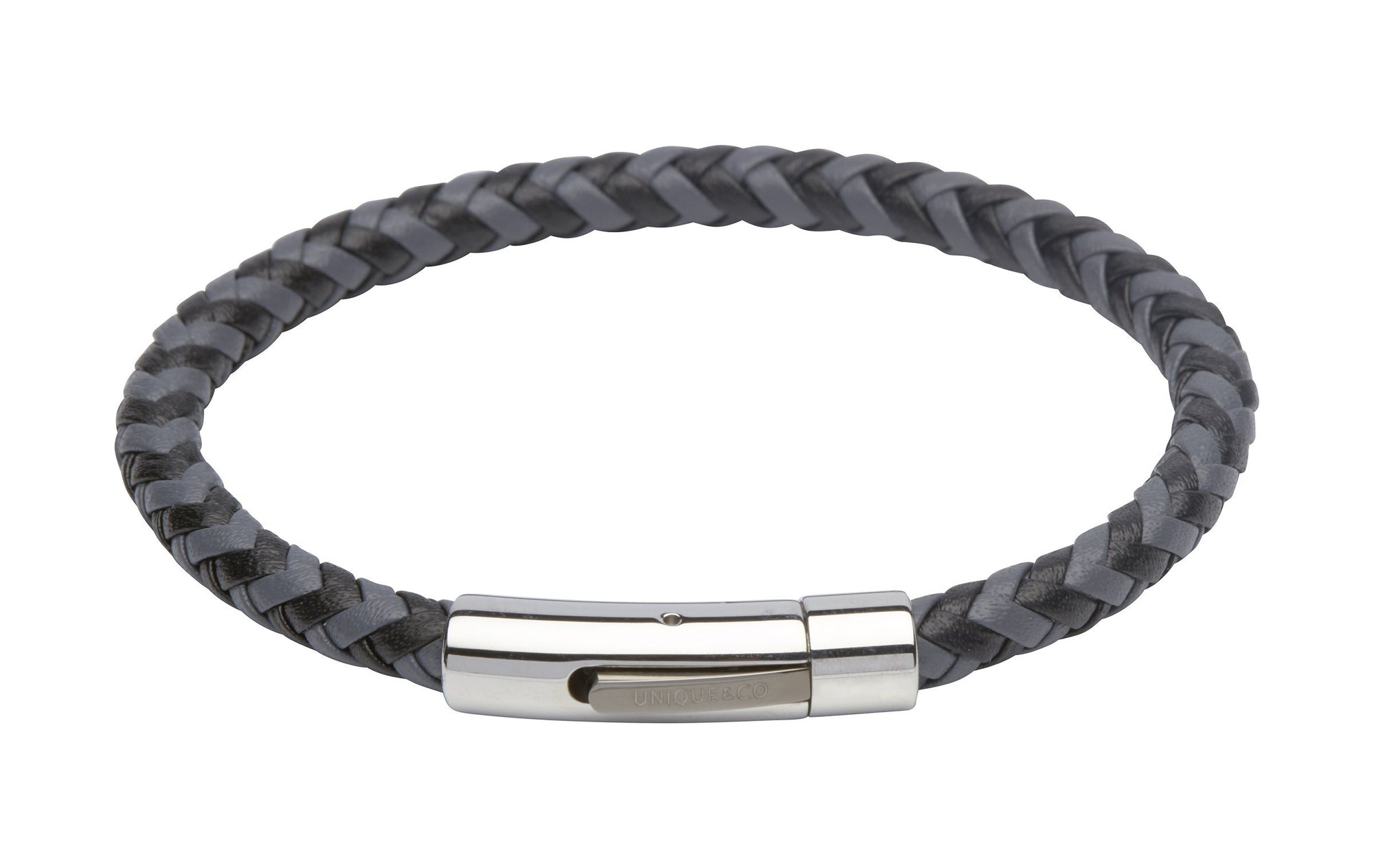 Mens Two-Colour Black and Grey Leather Woven Bracelet with stainless steel clasp