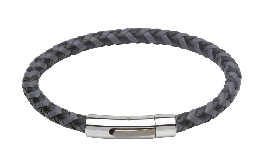 Mens-Two-Colour-Black-Grey-Leather-Woven-Bracelet-from-Jools