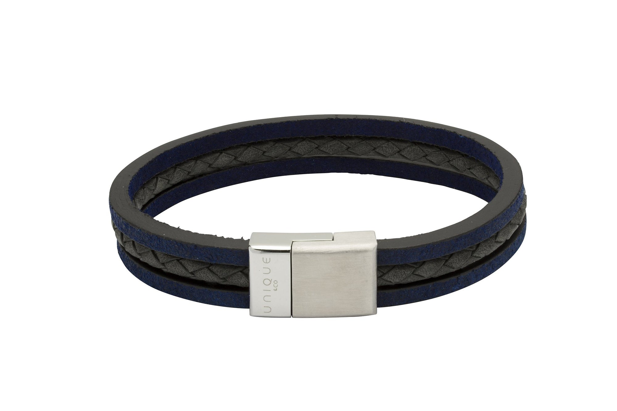 Mens Wide Leather Bracelet with three coloured strands in blue and black with magnetic Clasp