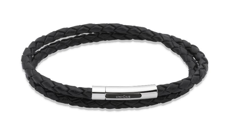 Mens-Double-Wrap-Around-leather-bracelet-in-Black-from-Jools-Jewellery