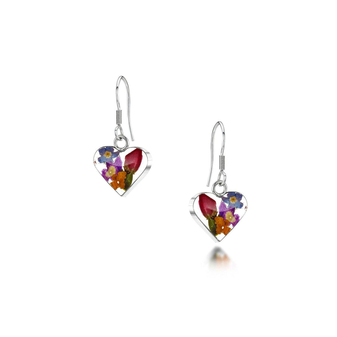 Real Flower Jewellery Heart Drop Earrings