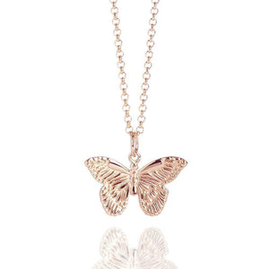 rose gold vermeil butterfly pendant and chain