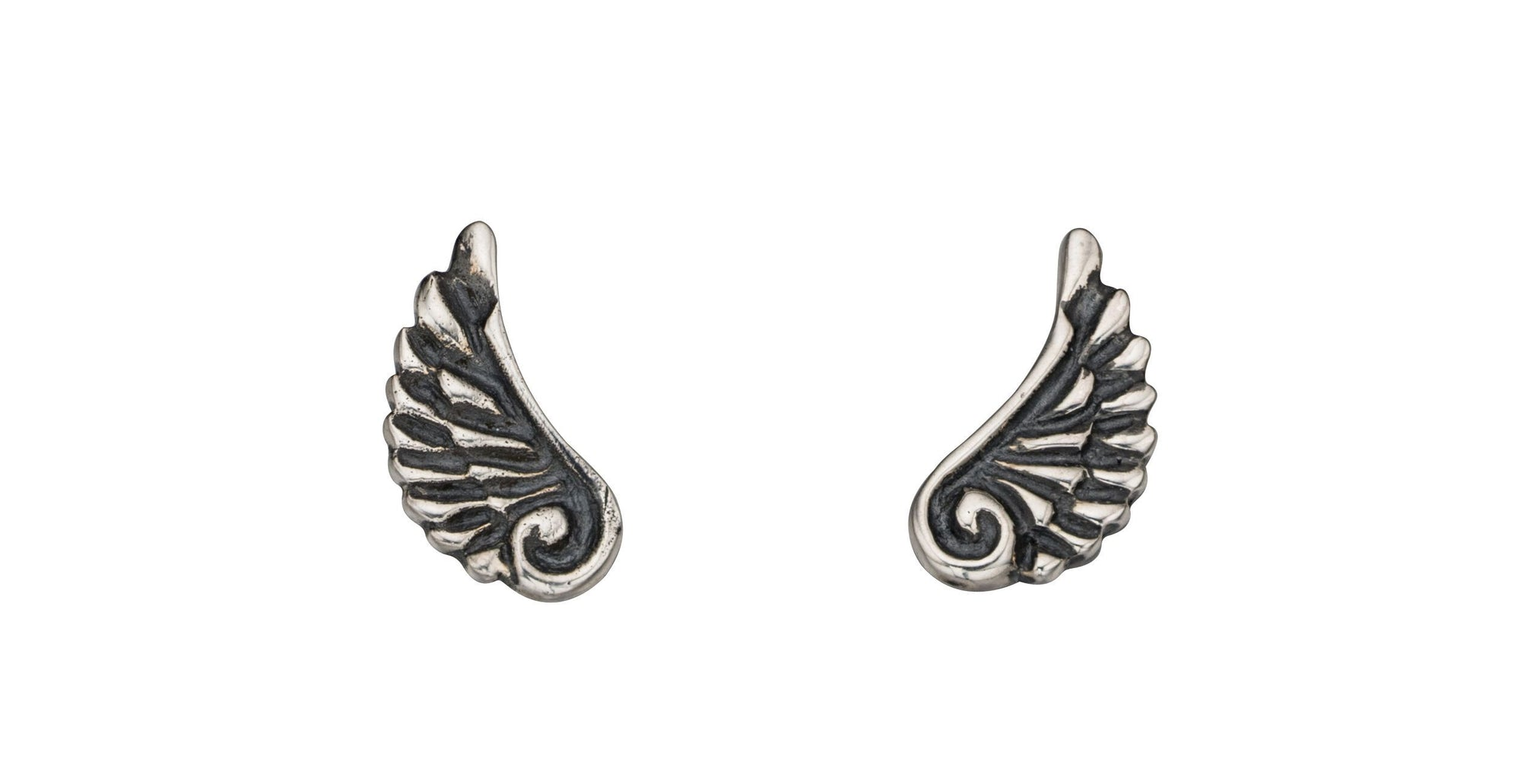Oxidised Silver Angel Wing Stud Earrings Jewellery Gecko