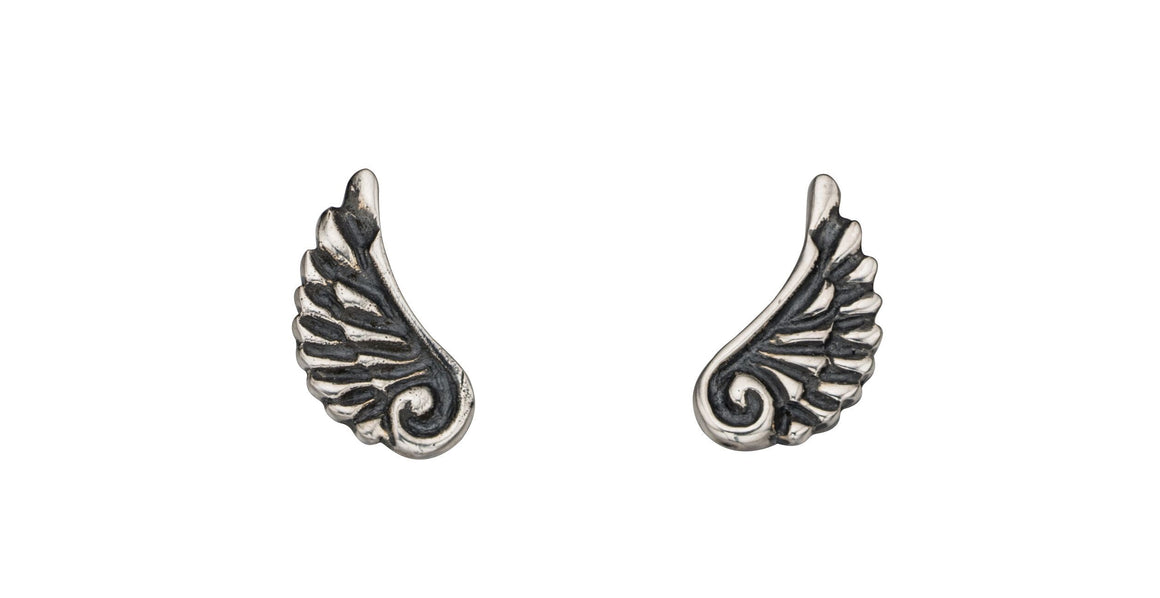 Oxidised Silver Angel Wing Stud Earrings