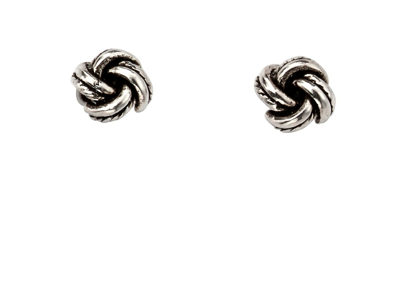 silver oxidised knot earrings