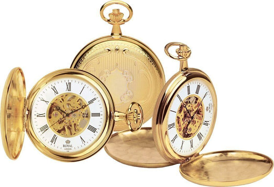 Royal London Mens PVD Gold Plated Mechanical Pocket Watch