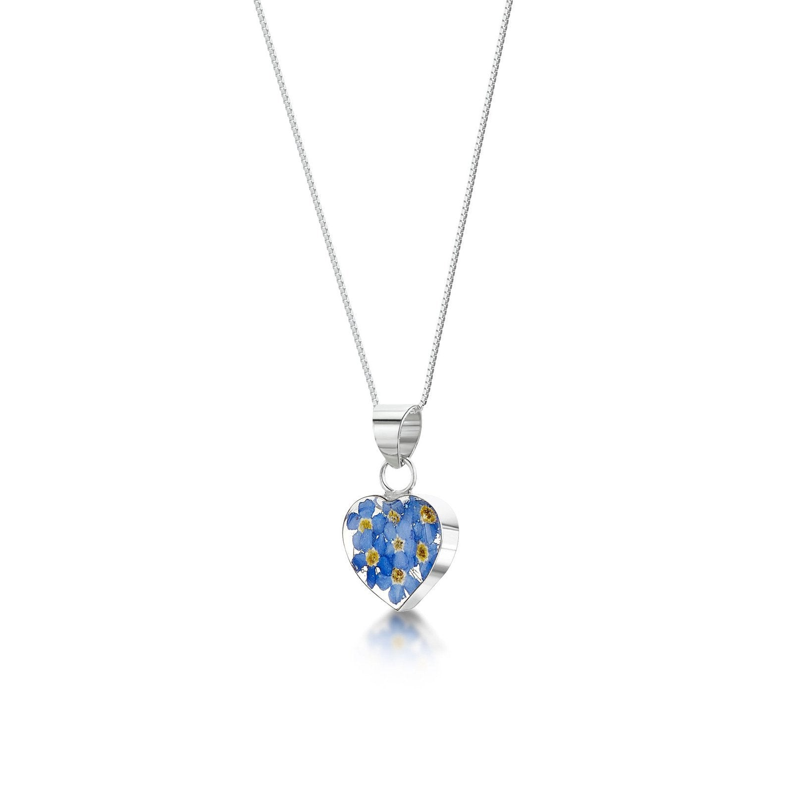 Real Flower Jewellery Forget-me-Not Heart-shaped silver pendant