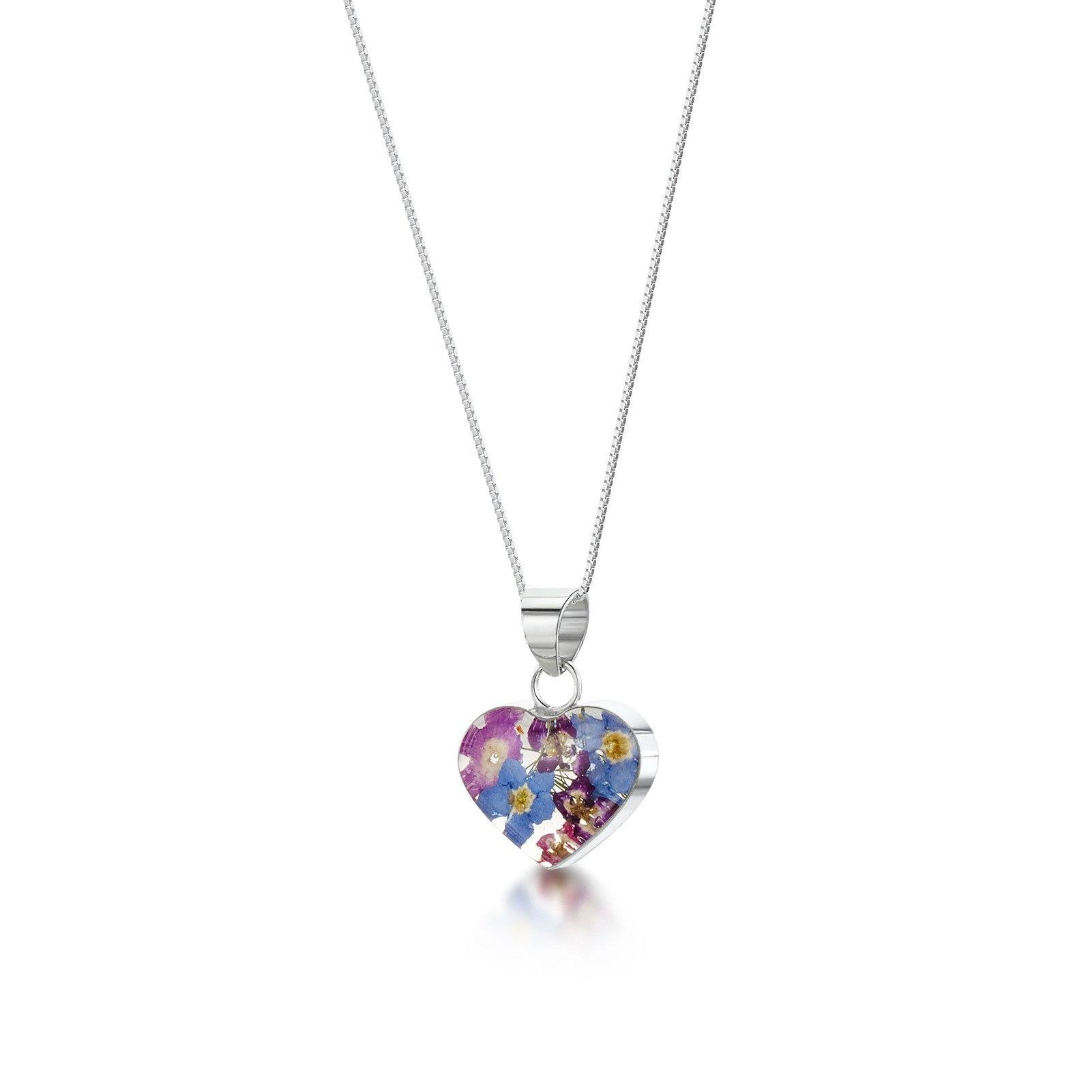 Real Flower jewellery Heart shaped silver pendant