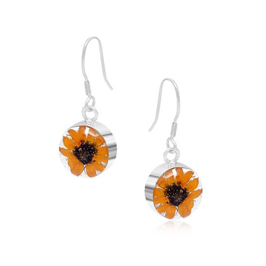 silver and real flower sunflower drop round earrings