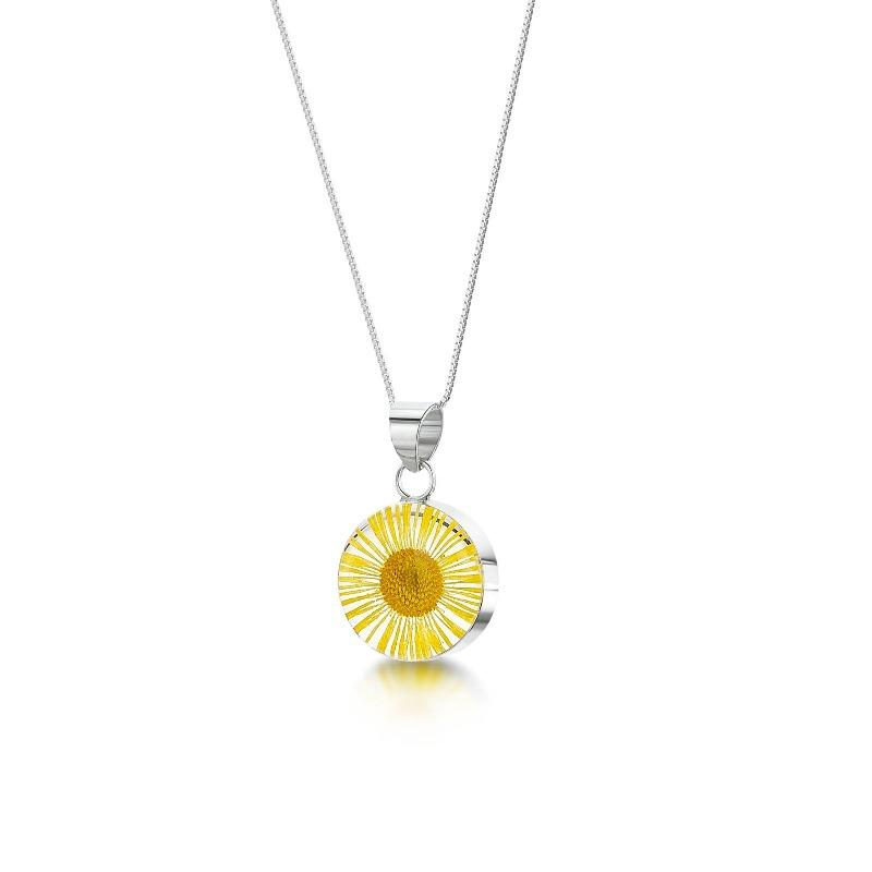 Real Yellow Daisy flower set in resin in a sterling silver pendant and chain