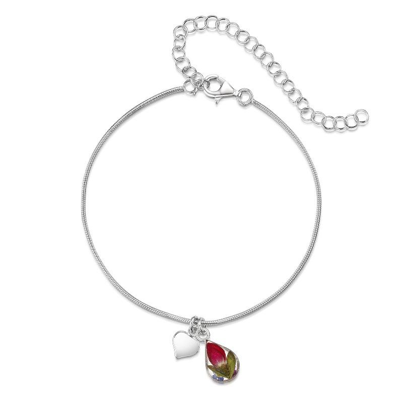 Silver bracelet or anklet with a teadrop charm with real mixed flowers inside