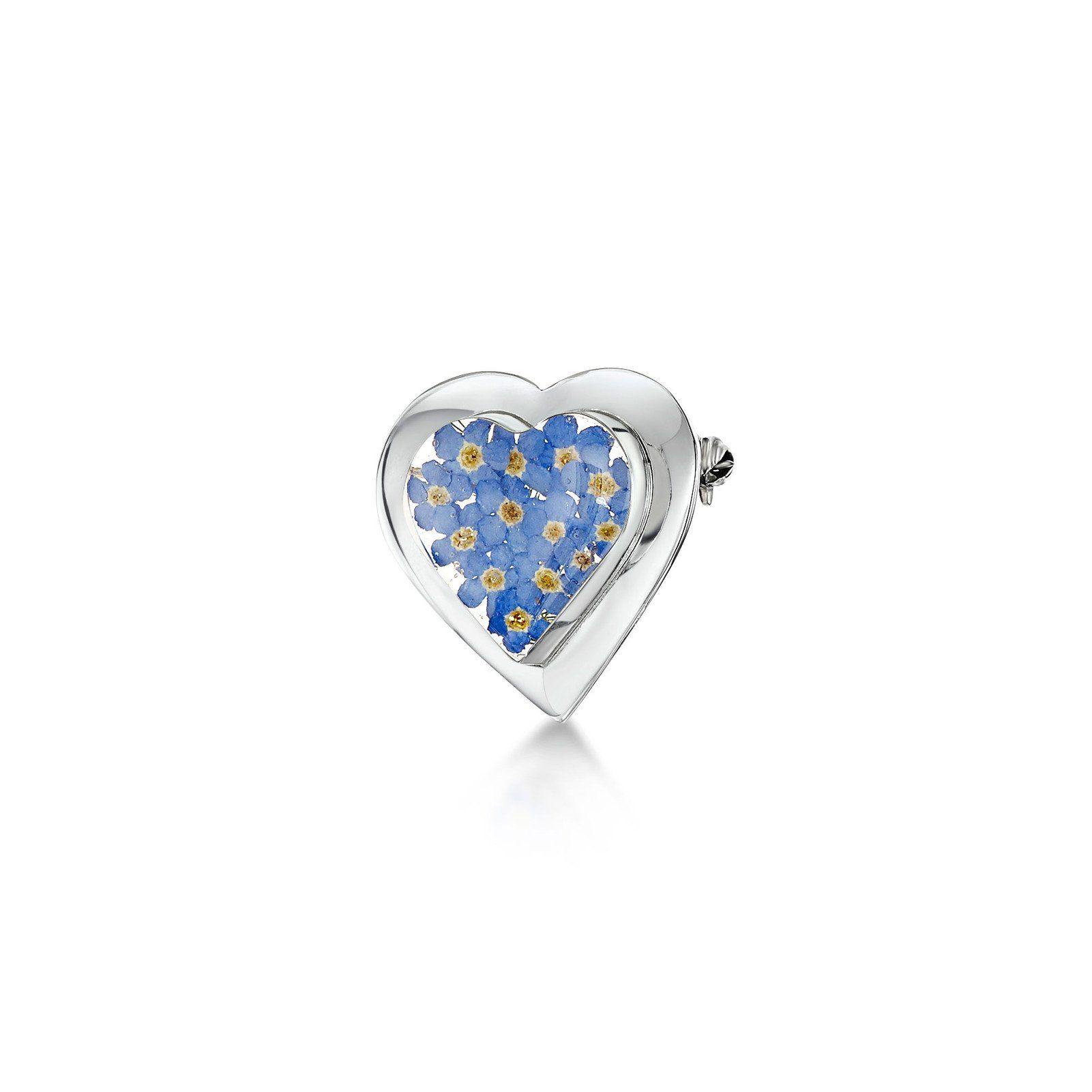 Silver heart-shaped brooch set with real forget me not flowers