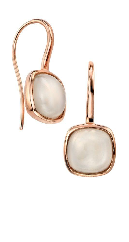 Rose Gold and Moonstone Hook Earrings