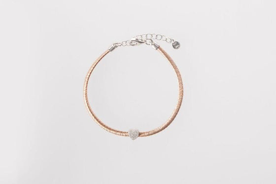Rose Gold Bracelet with CZ Pave Heart