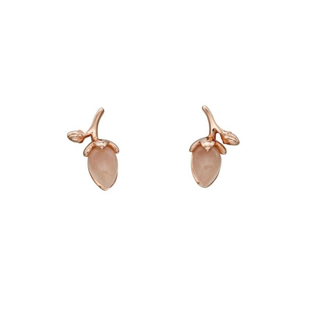 Rose Gold Jade Rosebud Stud Earrings
