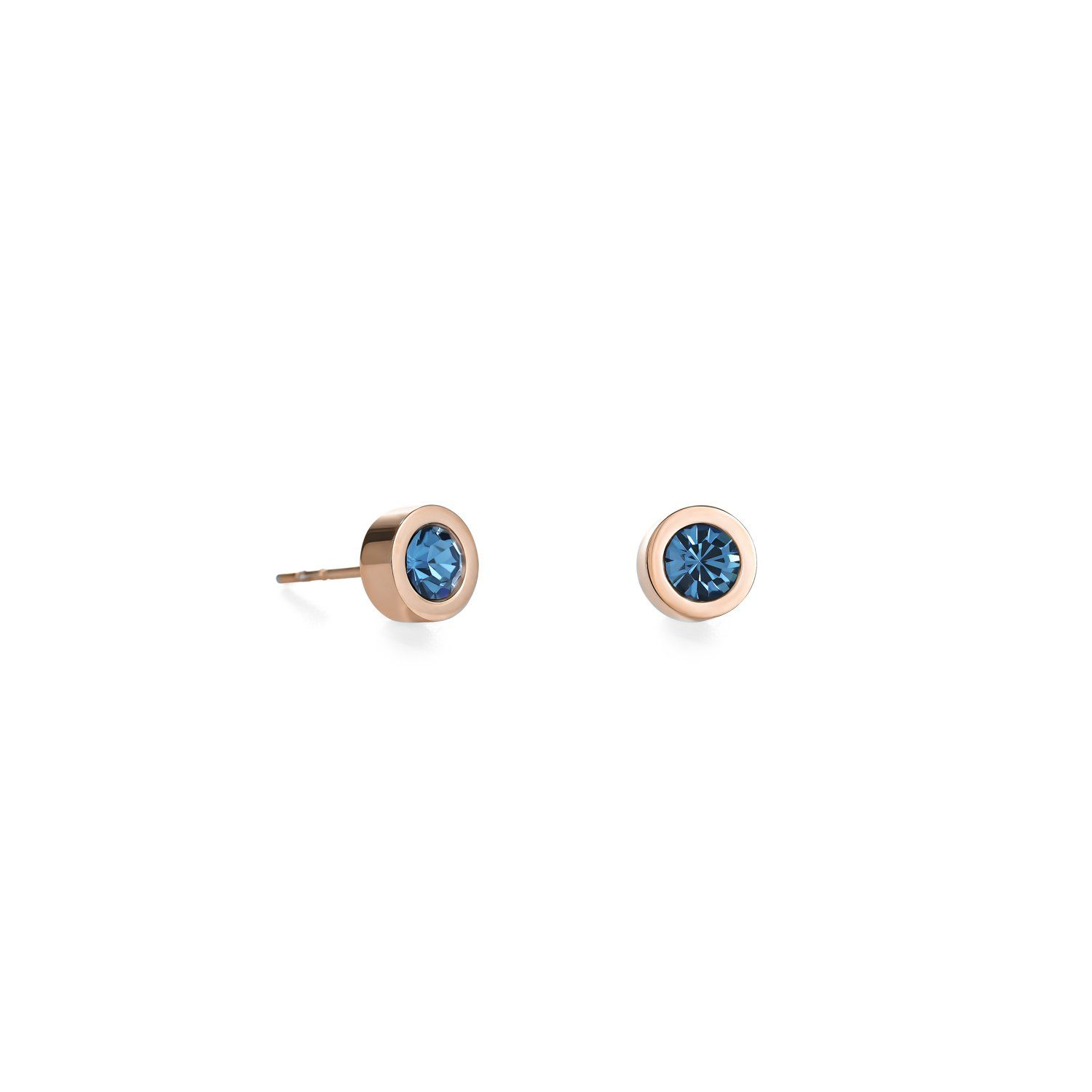 Rose Gold Stainless Steel Round Studs with Petrol Crystals Jewellery Coeur de Lion