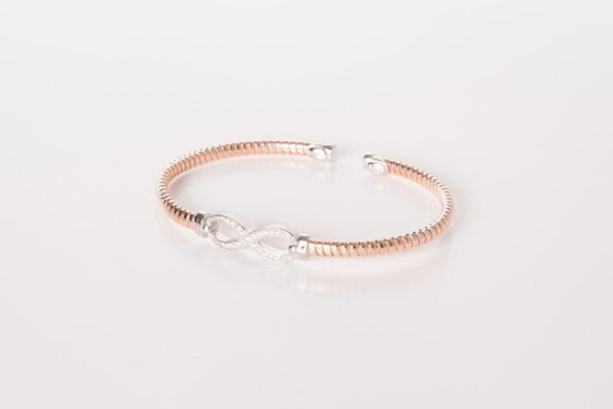 Rose Gold and Silver Infinity Bangle with CZ
