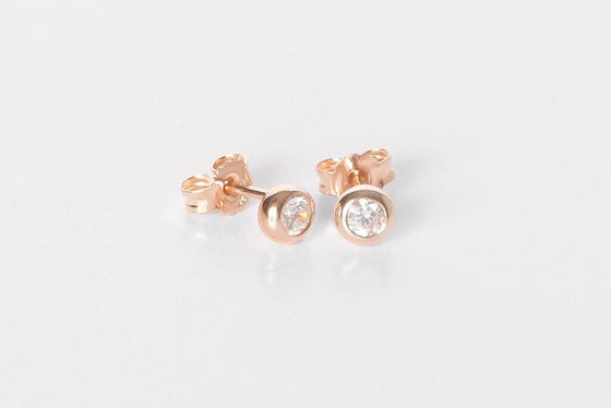 Rose Gold Cubic Zirconia Stud Earring