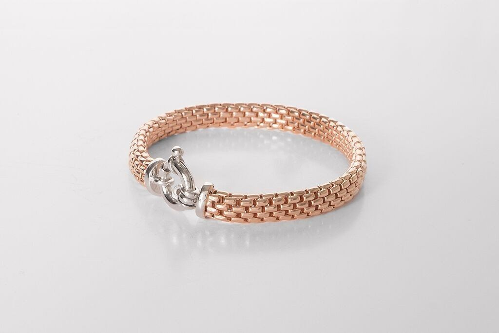 Rose Gold on Silver Panther Link Bracelet