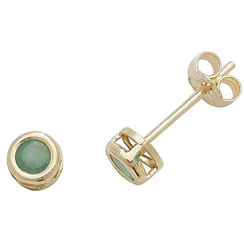 A pair of round gold emerald stud earrings
