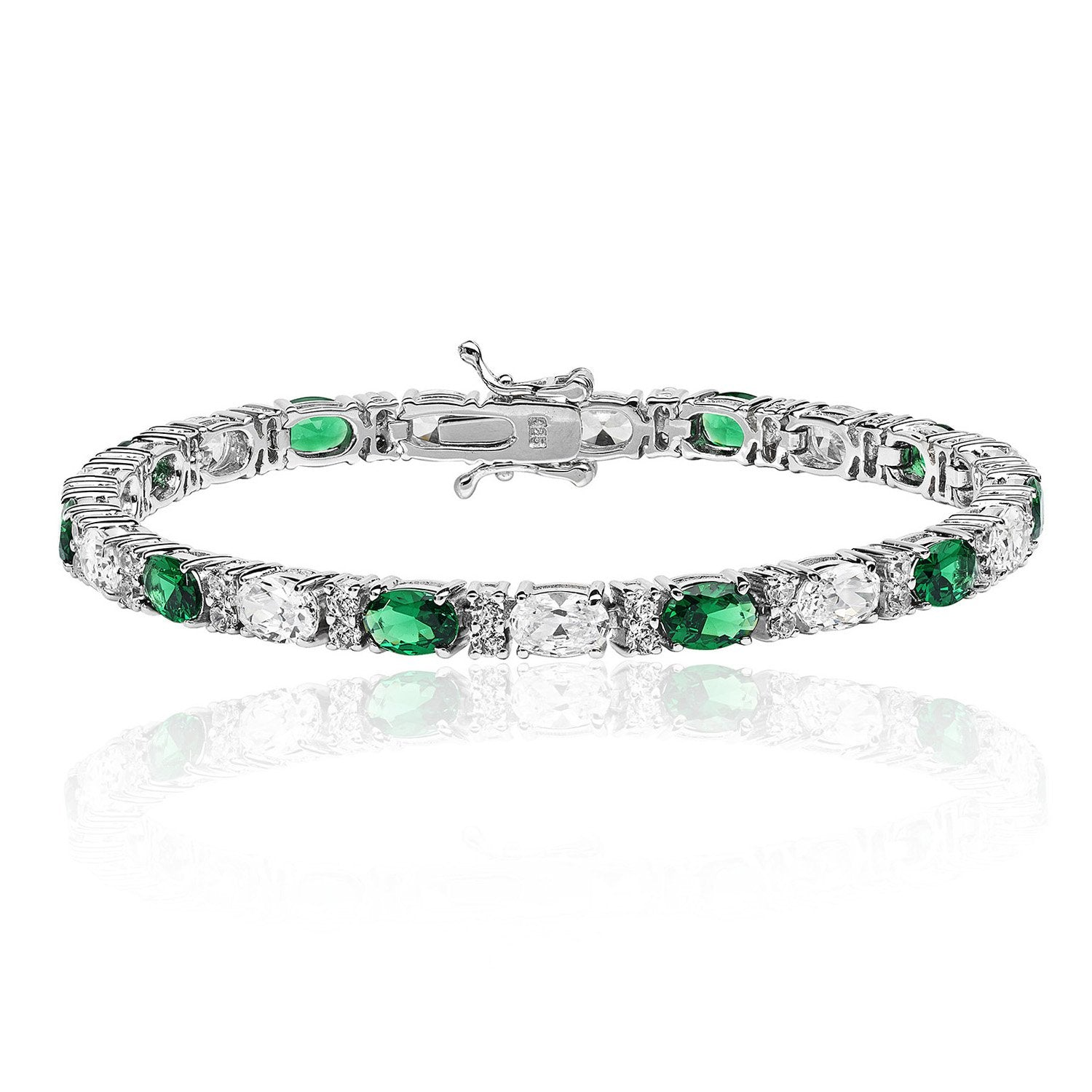 Silver Emerald and White Cubic Zirconia Bracelet Jewellery Treasure House Limited