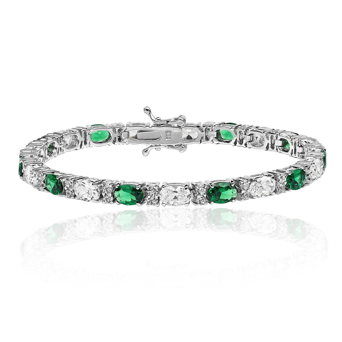 Silver Emerald and White Cubic Zirconia Bracelet